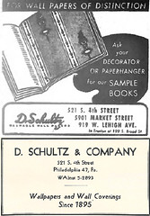D. Schultz,wall paper, 521 South Fourth (and other locations), Philadelphia, 1949 and 1959 ads (Scavenger49) Tags: philadelphia sign southstreet wallpaper foremost hall