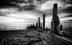 Groyne (tonybeavers) Tags: bw groyne sunset beach light solway