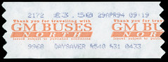 ticket - gm buses north 29-4-94 (johnmightycat1) Tags: bus ticket