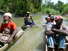 Boat testing (CIFOR) Tags: waterresources group aquaticenvironment people localpeople watershedmanagement cifor livingconditions males men forests man tropicalforests papua livelihoods multidisciplinarylandscapeapproach forest rainforests river communityforestry boat water horizontal indonesia canoe human humanbeing humanbeings humans person