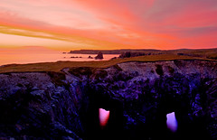 Sunrise behind Sea Arches, Dungeon Provincial Park, Newfoundland (klauslang99) Tags: klauslang nature naturalworld northamerica canada newfoundland sunrise sea arches dungeon provincial park reflection atlantic landscape