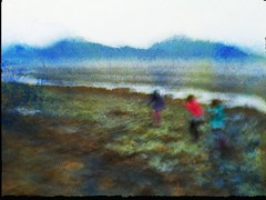 Beach Combing, Homer Alaska. An impression. (Richard Denney) Tags: homer alaska beach bishopsbeach kids beachcombing water mountains rain mist impressionism colors blur