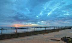 Sea Pool Sunrise Seascape (Merrillie) Tags: daybreak sand landscape nature water newsouthwales rocks nsw beach scenery seapool clouds newport earlymornings waterscape sea australia dawn seascape