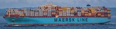 2017 - Japan - Yokohama - Maersk Elba (Ted's photos - For Me & You) Tags: 2017 cropped japan nikon nikond750 nikonfx tedmcgrath tedsphotos vignetting yokohama ship boat maersk maerskelba containership water tokyobay wideangle widescreen containers