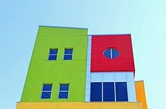 . (SA_Steve) Tags: southbronxcharterschoolforinternationalculturesthearts architecture colors colorful nyc thebronx bronx bronxny detail shapes shape round square rectangle red yellow green southbronx school