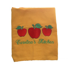 Yellow Flour Sack Towel with Apple Embroidery (initial_impressions) Tags: embroidered personalized yellowfloursacktowelwithappleembroidery