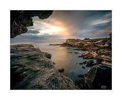 Overhang (Mike Hankey.) Tags: landscape published sunrise lowtide littlebay cloud