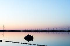 Smooth Energy (Nikonierer) Tags: denmark copenhagen goldenhour reflection smooth amagerstrand sea beach night light sunset outdoors nature landscape water sky dawn windmill windturbine
