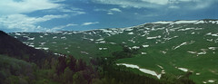 Lagonaki Plateau (Alex Speedo) Tags: 35mm olympusom2 zuiko analog film russia mountain nature landscape view alpine snow summer vacation trip travel grass field meadows panoramic kodakvision