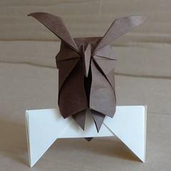 Horned owl by Hideo Komatsu [Hideo Komatsu challenge 10/50] (Orizuka) Tags: origami hkchallenge hideokomatsu owl washipaper