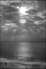 At the beach (Romain Massola) Tags: plage beach capbreton landes sudouest southwest france ciel sky cloud nuage soleil sun sunset coucherdesoleil lumiere light contrejour backlight ocean silhouette leica m6 voigtlander colorskopar 35mm ilford hp5 rodinal noiretblanc blackandwhite nb bw bwfp epson v700 epsonv700 ishootfilm believeinfilm