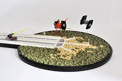 Star Wars Ring-worlds: Lothal Highway Terminal (Inthert) Tags: lego moc star wars rebels road lamp lamppost highway terminal speeder ship tie fighter mini scale diorama vignette cheese slope grass plant rock ring ringworlds field lothal ryder azadi explosion destroy