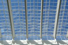 Roof of  glass (Jan van der Wolf) Tags: map17022v glass glas windows roof dak architecture architectuur symmetric symmetry symmetrie lines lijnen lijnenspel playoflines interplayoflines gemeentehuis geometric geometry gebouw building denhaag richardmeier reflection spiegeling shadows