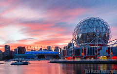 Science World and BC Place Stadium at Sunset. Vancouver, BC (Rick Deacon) Tags: bc canada creek orange british colorful colourful columbia downtown dramatic dusk false place red science stadium sundown sunset telus vancouver world