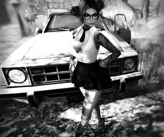 on a road to nowhere... (Darkkness Resident) Tags: blackandwhite bento bright bw blackwhite uber kibitz justbecause noireblanc noiretblanc avatar maitreya catwa hair landscape avatars gray glasses eyes elysion people secondlife mesh geek style doux outdoors monochrome portrait nostalgic ikon car cars blanc nior