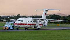 A9C-BDF Bahrain Defence Force British Aerospace Avro RJ85 @ Exeter Airport, Devon. (Sw Aviation) Tags: a9cbdf bahrain defence force british aerospace avro rj85 exeter airport devon avgeek bae146 bae 146 300 200 airplane flying flight sky orange white red blue