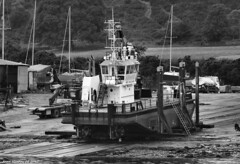 Scotland West Highlands Argyll in the shipyard at Ardmaleish the five year old Clyde utility vessel Duncan M 21 June 2017 by Anne MacKay (Anne MacKay images of interest & wonder) Tags: scotland west highlands argyll shipyard ardmaleish clyde utility ship vessel duncan slipway monochrome blackandwhite m xs1 21 june 2017 picture by anne mackay