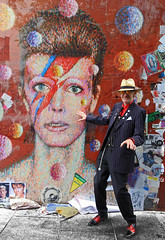 Portraits from the Street - Brixton (Finding Chris) Tags: brixton davidbowie stardust memorial ziggy fan aladdinsane album shrine lighteningbolt grafitti chrisbarbaraarps canon60d iconic