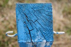 Fence Post (jimj0will) Tags: blue minimalist texture cracks lines surface