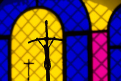 Shining Colors (Cornelli2010) Tags: canonef70200mm14l canoneos5dmarkiii bunt christ church colorful colors cross fenster italien italy jesus kirche kreuz licht light lighting multicolored orosei religion sardegna sardinia sardinien shiningcolors window windows