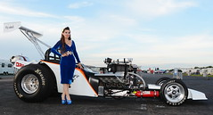 Holly_5117 (Fast an' Bulbous) Tags: girl woman pinup model altered supercharged stilettos stocking blue wiggle dress velvet dragster