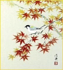 Great tit (Japanese Flower and Bird Art) Tags: bird great tit parus major paridae nobuyasu hotta nihonga shikishi japan japanese art readercollection