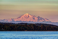 Mt. Baker at sunset (james c. (vancouver bc)) Tags: tree forest background sky beauty fog red mist misty foggy cloud nature summer sunset orange blue green surrey britishcolumbia canada usa unitedstates border landscape whiterock foreground water sea whashingtonstate mountain range snow scenic outdoor summit evening tourism beautiful peak scenery dusk twilight color colour colorful colourful mtbaker mountbaker wave