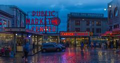 Public Market Sign (Nikon Blair) Tags: travel seattle publicmarket rain city neon