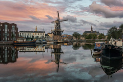 Cloudy morning, Haarlem (urbanexpl0rer) Tags: haarlem spaarne spaarnestad molendeadriaan molen mill cityscape dutchlandscape dutch reflections waterreflections boats buildings houses clouds wolken kerk church stbavo holland thenetherlands netherlands