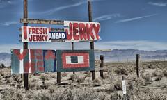 [v.3] (shadowplay) Tags: 395 freshjerky ahead roadside visa mc mojavedesert dirtysockhotsprings advertising billboard