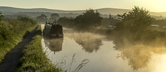 Narrowboat in the mist (chaotic river) Tags: barge bilsborrow boat canal early lancaster mist morning narrow reflection summer wyredistrict england unitedkingdom gb
