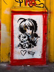 RIP (Steve Taylor (Photography)) Tags: art graffiti mural stencil streetart black white yellow red orange sad girl uk gb england greatbritain unitedkingdom london border heart teddy bear tribute rip