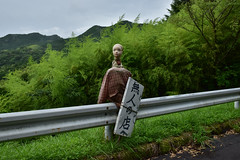 Welcome to unattended sales place. (Yasuyuki Oomagari) Tags: character mannequin sign mascot road roadside shop mountain nikon nikkor green creepy strange skinhead bamboo