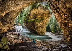 Johnstons Canyon Cave (tibchris) Tags: banff banffnationalpark alberta cave johnstonscanyon waterfall river escarpment oversharpened