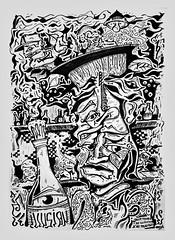 illusion (Ralf Schuhmacher) Tags: bar tresen illusion people drawing imagination poison metaphysics world parallel mind trap illustration black white self confidence reflection berlin psychology pseudo science bw pen paper art dieta
