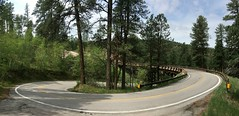 Pigtail Pano (Jayhawk Explorer) Tags: ipiccy iphone panorama pigtail bridge ironmountainroad highway16a blackhills southdakota sd custerstatepark peternorbeckscenicbyway byway roadtrip vacation