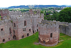 Ludlow Castle from Battlements. (wontolla1 (Septuagenarian)) Tags: ludlow shropshire castle tower box red telephone norman chapel great chamber flickrunitedaward topcatandfriends historymystery₪society sigma19mmf28dnarte keep round fortress