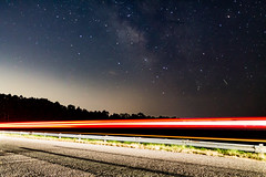 Milky Way and Light Trails (jason.betzner) Tags: toano williamsburg virginia astrophotography milkyway stars lighttrails car road trees sky night nighttimephotography nighttime summer canonef20mmf28usm canon rebelt3 eos longexposure
