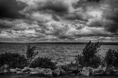 Clouds Rolling In (flashfix) Tags: july082017 2017inphotos ottawa ontario canada nikond7100 nikon 28mm river trees andrewhaydonpark landscape water monochrome blackandwhite nature mothernature clouds sky