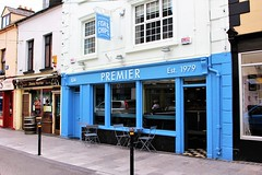 Premier Fish & Chips (JulieK (thanks for 5 million views)) Tags: takeaway fishandchipshop blue window reflections wexford street hww ireland irish canoneos100d table chairs