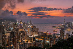 Sunset Time (Samuel Gmehlin) Tags: 晚霞 night 夜景 长曝光 長曝光 longexposure harbor afterglow cityscape hongkong sunset city skyline harbour skyscrapers asia nikond750 亞洲 香港 日落 夕陽 高樓 大城市