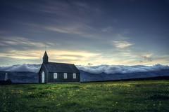 Black and isolated (PeterThoeny) Tags: búðir budir iceland búðakirkja budachurch church blackchurch black sky landscape day cloudy cloud sony sonya7 a7 a7ii a7mii alpha7mii ilce7m2 fullframe fe2870mmf3556oss 1xp raw photomatix hdr qualityhdr qualityhdrphotography fav200