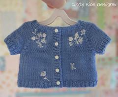 """Summer Meadow"" made for Little Darlings. (Cindy Rice Designs) Tags: embroidery effner doll littledarlings knit sweater cardigan crochet dress beret hat flowerbasket"