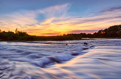 A fast flowing sunset (Rob McC) Tags: sunset goldenhour sky river waterfront rapids flowing beautiful landscape water wterscape movement orange softwater soft pertuis la durance provencealpescotedazur provence