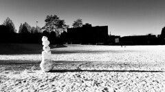 Snowman at Jonathan Rogers Park (MassiveKontent) Tags: snowman park vancouver bw urban blackandwhite monochrome city streetphotography britishcolumbia vancity vancouverisawesome veryvancouver vancouverbc pacificnorthwest winter snow