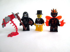 Random Characters (slight.of.brick) Tags: lego drawing funny weird demon butterfly grim reaper gory