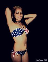 Yennie in Flag Bikini / 107 (Alex88 - Thanks for 91 Million Views) Tags: bikini sexy navel beauty brunette tummy belly bonita chica cubana