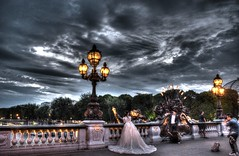 Wondering bride in Paris (Narek Talatinian) Tags: paris france bride bridge seine wonder wondering nice dress white lamps quality hdr tree pont alexandre