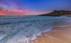 Porthmeor in pink (snowyturner) Tags: cornwall stives beach waves backwash chapel headland twilight landscape