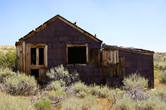 Two Doors Down (nedlugr) Tags: california ca usa bodie ghosttown easternsierras historic sagebrush monocounty house oncewashome door window tinsiding ruraldecay rust ruralwest smokyskies weatheredwood